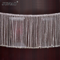 JUNAO 45cm/lot Glitter Clear Glass Rhinestone Chain Fringe Metal Strass Tassel Trim Crystal Ribbon Clothes Applique