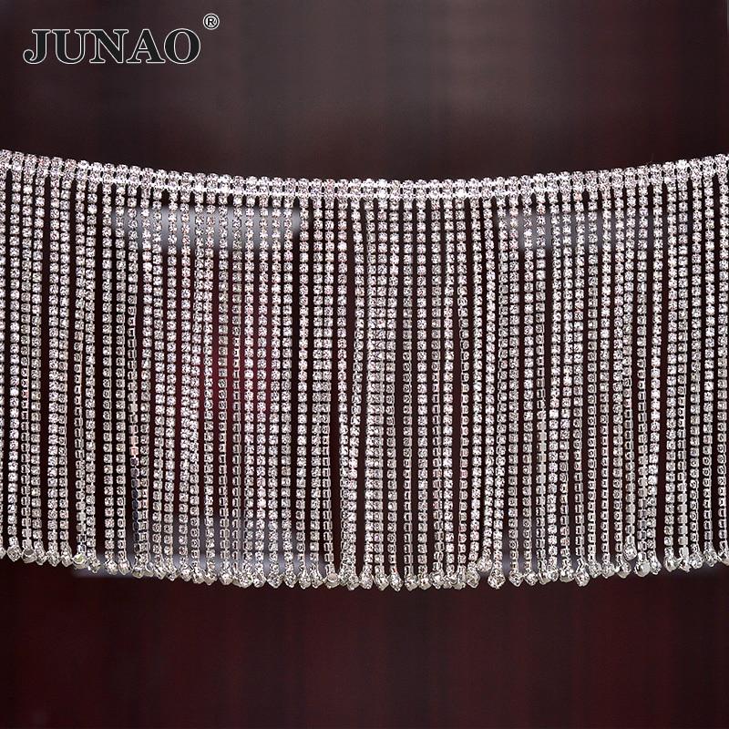 JUNAO 45 см/лот блестящее прозрачное стекло стразы отделка кисточка бахрома металлическая цепочка лента кристальная аппликация бандаж для под...