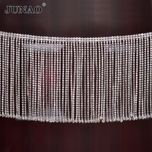 JUNAO 45cm/lot Glitter Clear Glass Rhinestone Trim Tassel Fringe Metal Strass Chain Ribbon Crystal Applique Banding for Crafts
