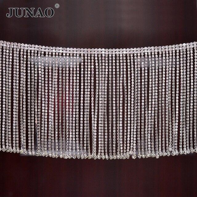 Junao 45センチメートル/ロットグリッタークリアガラスラインストーンチェーンフリンジ金属ラインストーンタッセルトリムクリスタルリボン服アップリケ