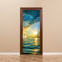 home decoration oceanscape door sticker adhesive 3d effect wall picture living room wall poster