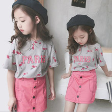 2019 Summer Korean Style Teenager Girls Clothing Set Flamigo Short Sleeve T-shirt+ Skirt 2pcs Children Kids Fashion Suit