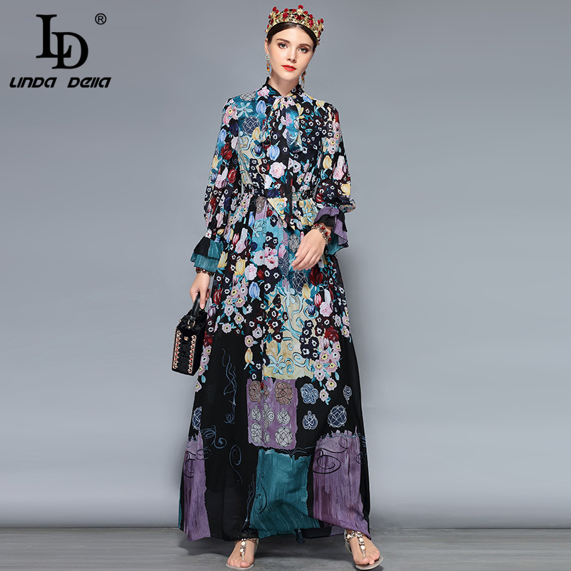 3031608f2b18 LD LINDA DELLA New Fashion Runway Maxi Dresses Women s Long Sleeve Bow  Collar Chiffon Floral Print