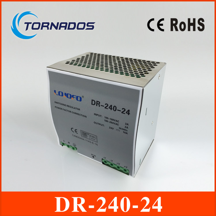 CE approved wide range input nicely 240w 24vdc 10a DR-240-24 din rail 24v power supply with high watts with high quality