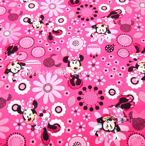 105 * 50cm1pc Minnie Stoff 100% Baumwolle Stoff Rosa Minnie Druck ...