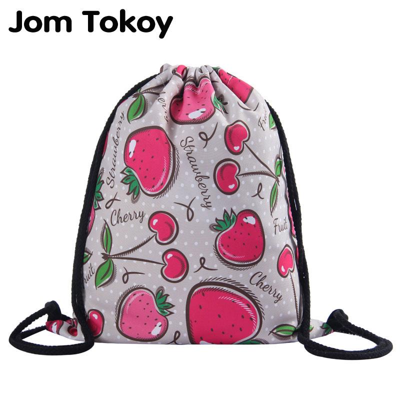 Jom Tokoy New Fashion Women Drawstring Backpack 3D Printing Fruits Pattern Travel Softback Women Mochila Drawstring Bag