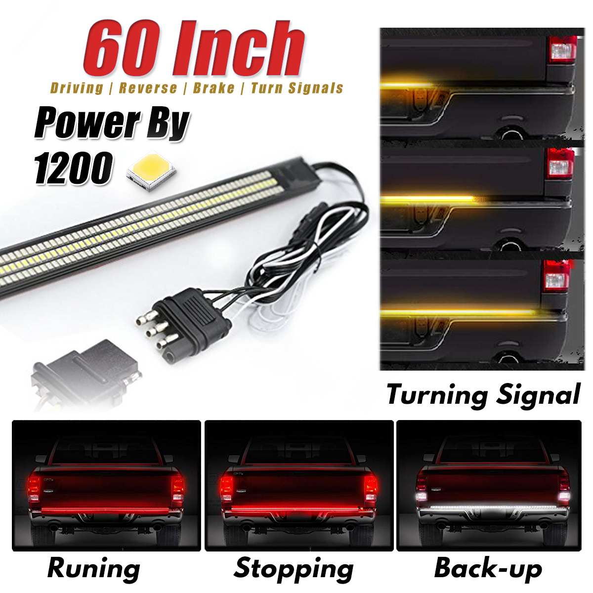 60 Universal Triple LED Aluminum Strip Tailgate Bar Red Driving Light Sequential Amber Turn Signal White Light Rigid Brake Rear60 Universal Triple LED Aluminum Strip Tailgate Bar Red Driving Light Sequential Amber Turn Signal White Light Rigid Brake Rear