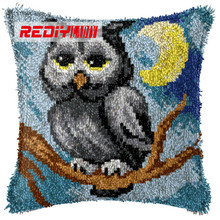 LADIY Latch Hook Cushion Kit Yarn for Embroidery Cushion Cover Night Owl Pillow Case Crochet Cushion Decorative Pillow BZ801(China)