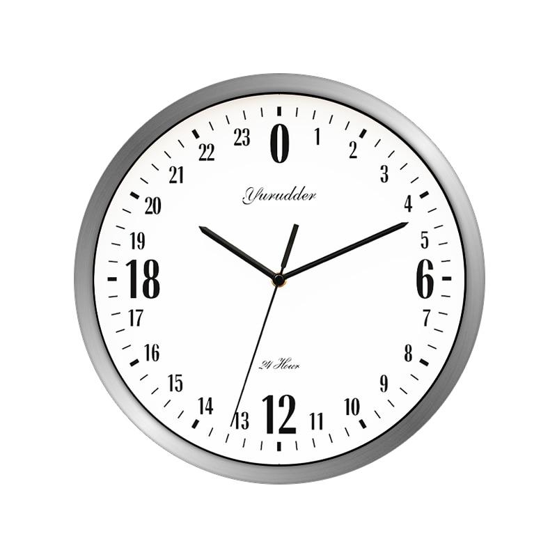 Новые 24 часовым циферблатом Дизайн 12 дюйм(ов) металла Рамки современная мода декоративные круглые Настенные часы