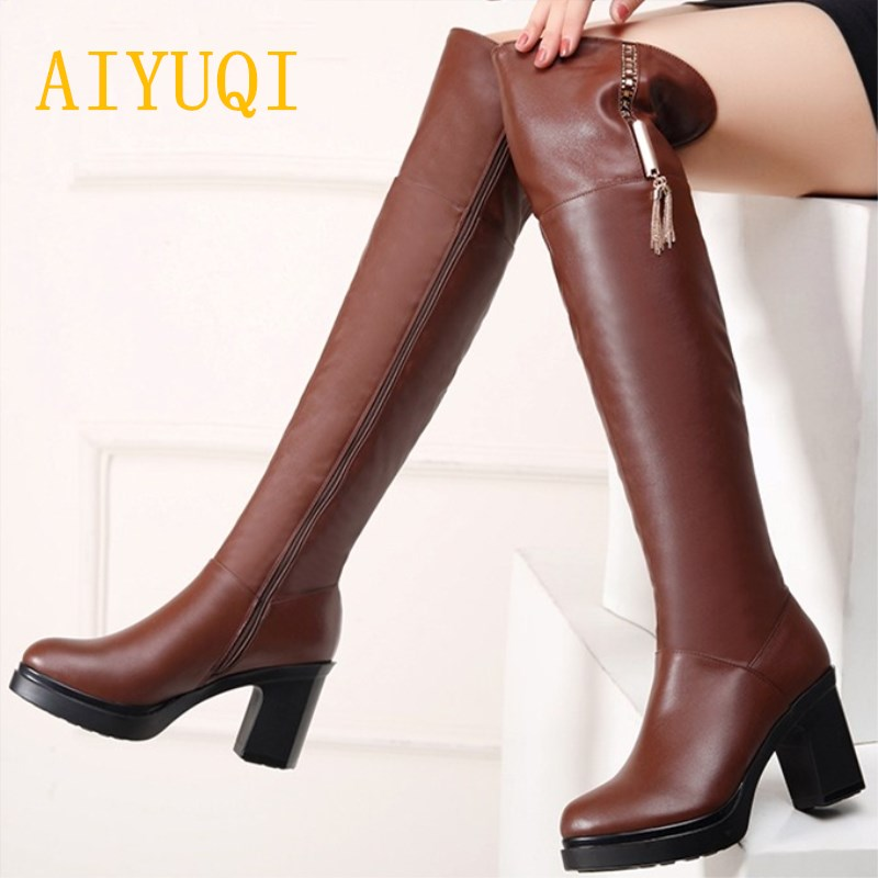 AIYUQI 2019 winter new genuine leather women s knee boots warm plus cashmere motorcycle boots high