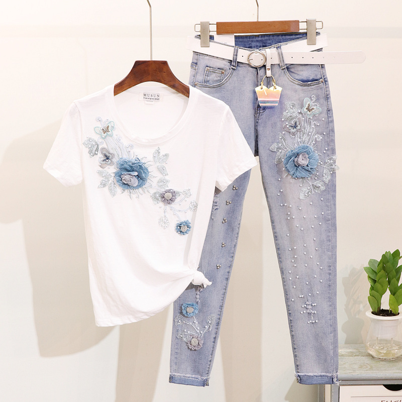 2019 Summer Beading Embroidery 3D Flower Short Sleeve Cotton T Shirt Holes Jeans Two Piece Sets