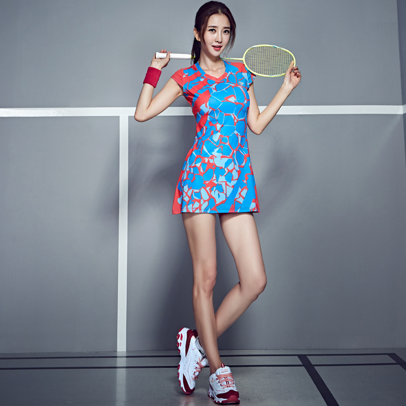 Women Racquet Sports Clothing Spring Badminton Dress Tennis Suit Sports Dress Slim Thin Tennis Dress with