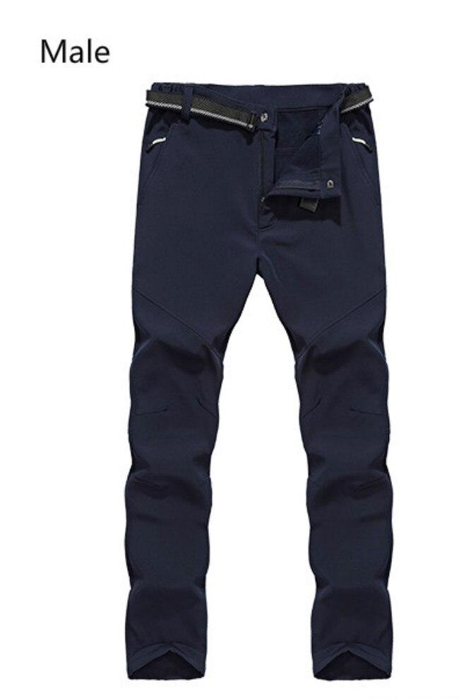 Men's And Women's Windproof Waterproof Thickening Warm Pants Outdoor Soft Shell Mountaineering And Fleece Rush Pants
