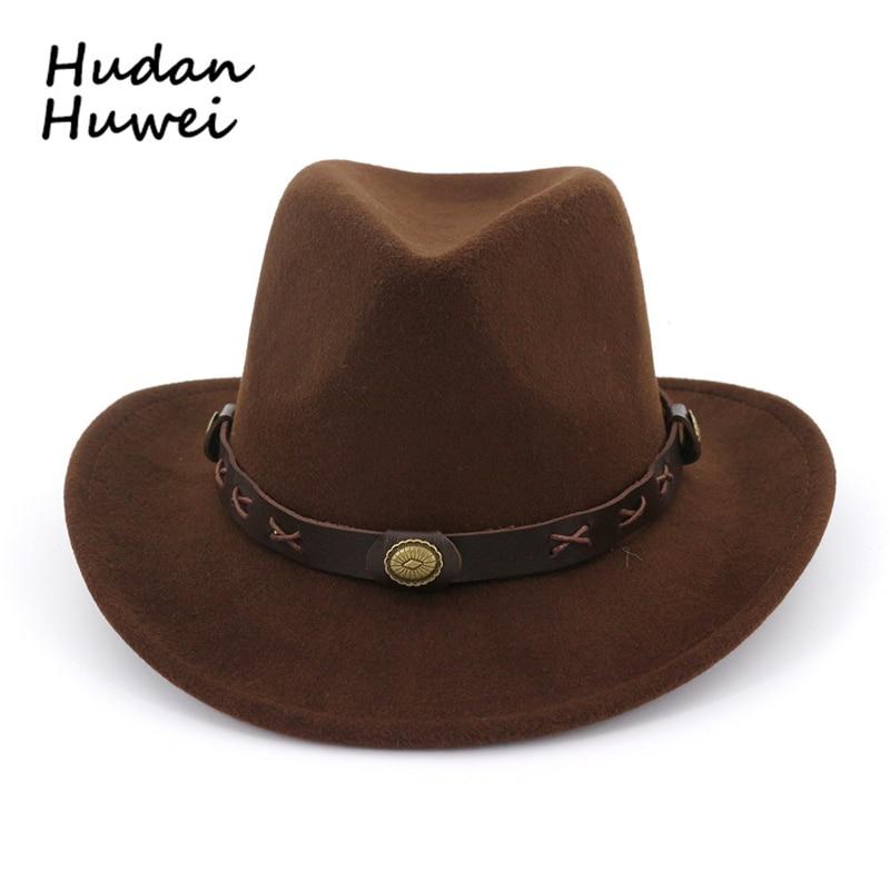 d7f1ae55 European US Men Women Wool Felt Fedoras with Belt Western Cowboy Formal Hat  Wide Brim Trilby