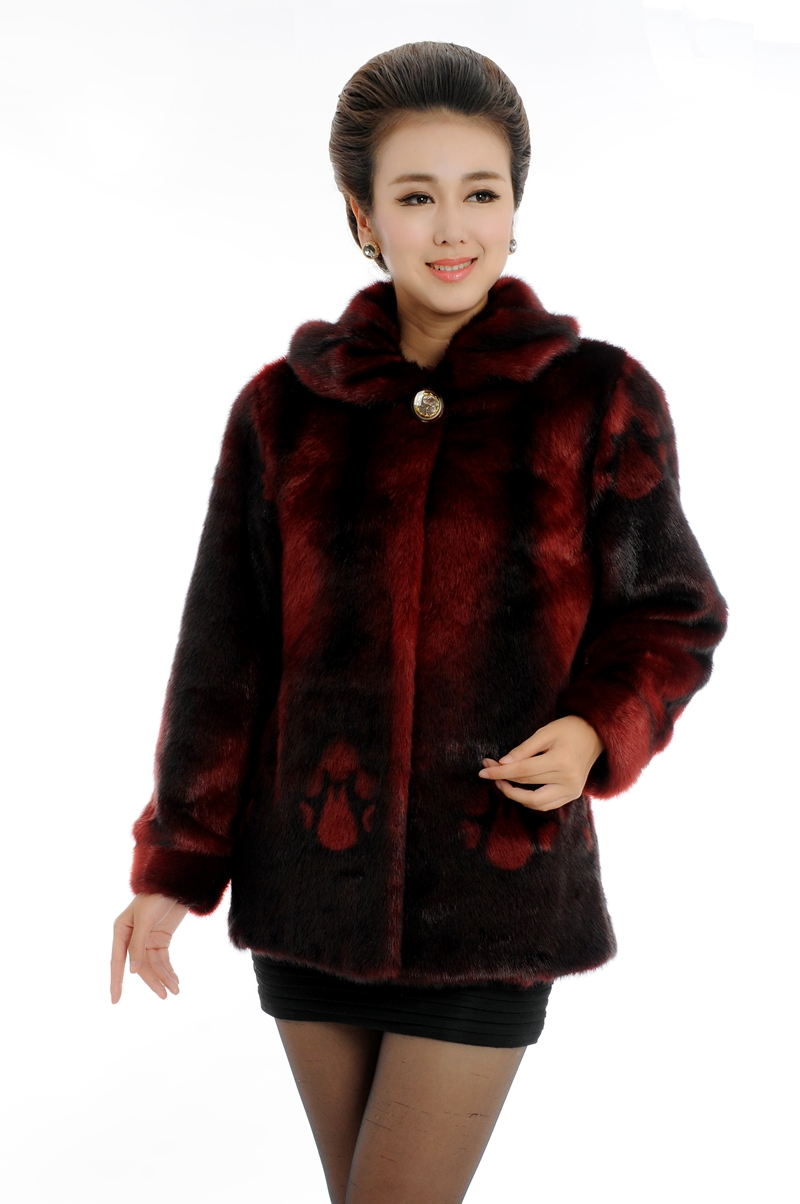 2017 winter high quality imitation mink thick warm overcoat middle-age women faux fur coat plus size XL - 5XL free shipping