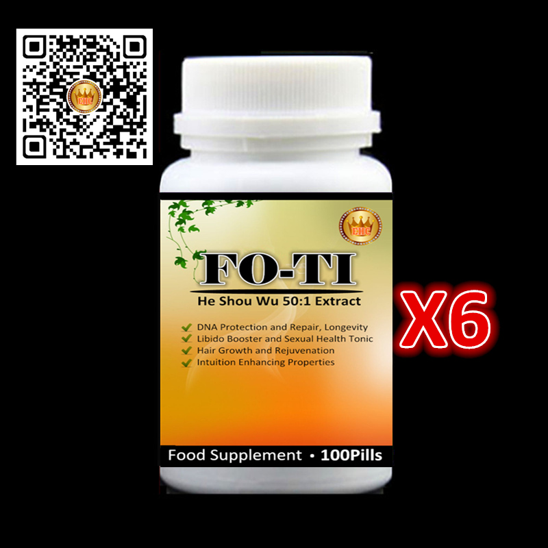 6 bottles 2017 Newest FO-TI root / He shou Wu 50:1 PE. for hair care(growth,Gray hair nemesis) - free shipping and duty