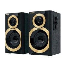 Колонки деревянные 2.0 АС SPS-619 GOLD, чёрный (20 Вт)