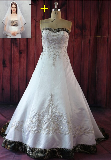 iLoveWedding Ball Gown White Camo Wedding Dresses Sleeveless ...
