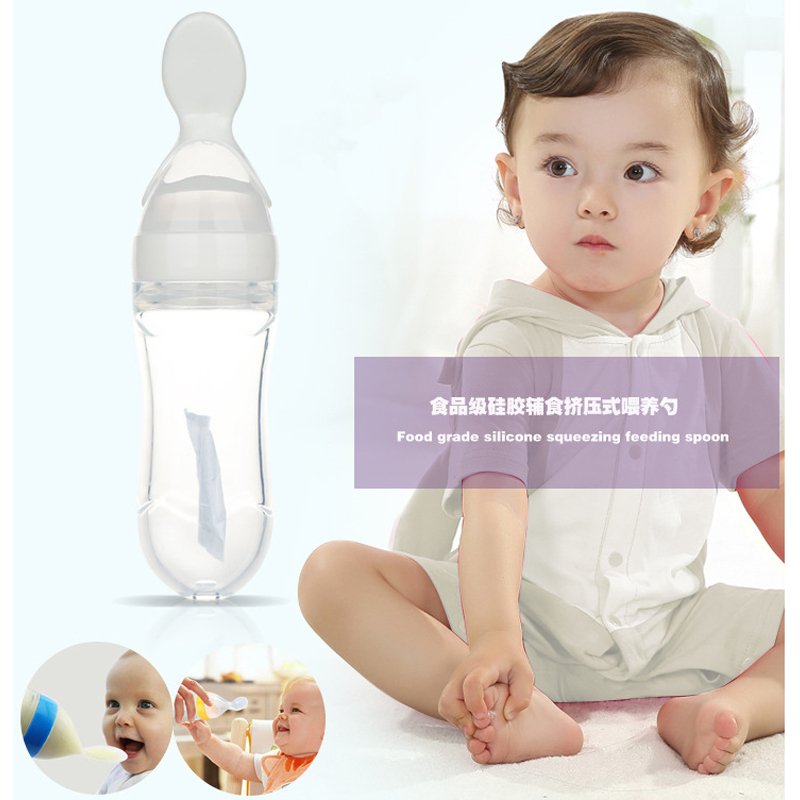 Solid Feeding Utensils 90ml Baby Feed Silicone Spoon Rice Cereal Eat-bottle Weaning Food Utensils Spoon Bottle Feeder