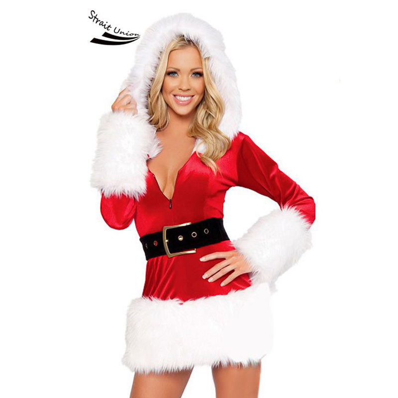 2017 New Hooded Santa Claus Xmas Dress Adult Women Party Dress Sexy Unique Christmas Costume 10