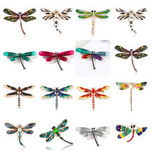 Crystal Vintage Dragonfly Brooches For Women Large Insect Brooch Pin Fashion Dress Coat Accessories Cute Jewelry(China)