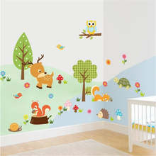 Forest Owl Butterfly Swing Rabbit Squirrel Wall Stickers Animal Tree For Kids Rooms Children Baby Nursery Rooms Home Decor(China)