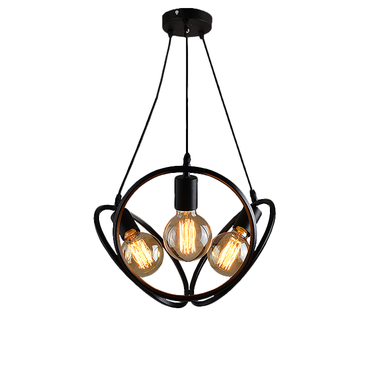 heads white/black 3 ring pendant lamps Industrial loft iron Pendant Lights bar Cafe bedroom retro creative personality three loft style vintage pendant lamp iron industrial retro pendant lamps restaurant bar counter hanging chandeliers cafe room