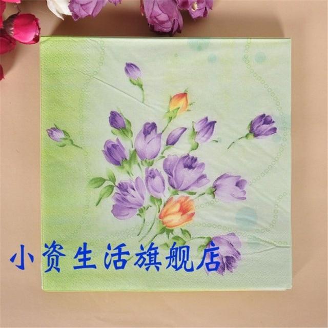 Vintage Serviette Papier Tissue Farbe Gedruckt Blau Lila Grun