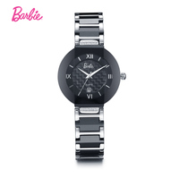 Barbie Luxury Black Ceramic and Brass Material Watch strap Belt bracelet band fashion diamond watches lady's Clock