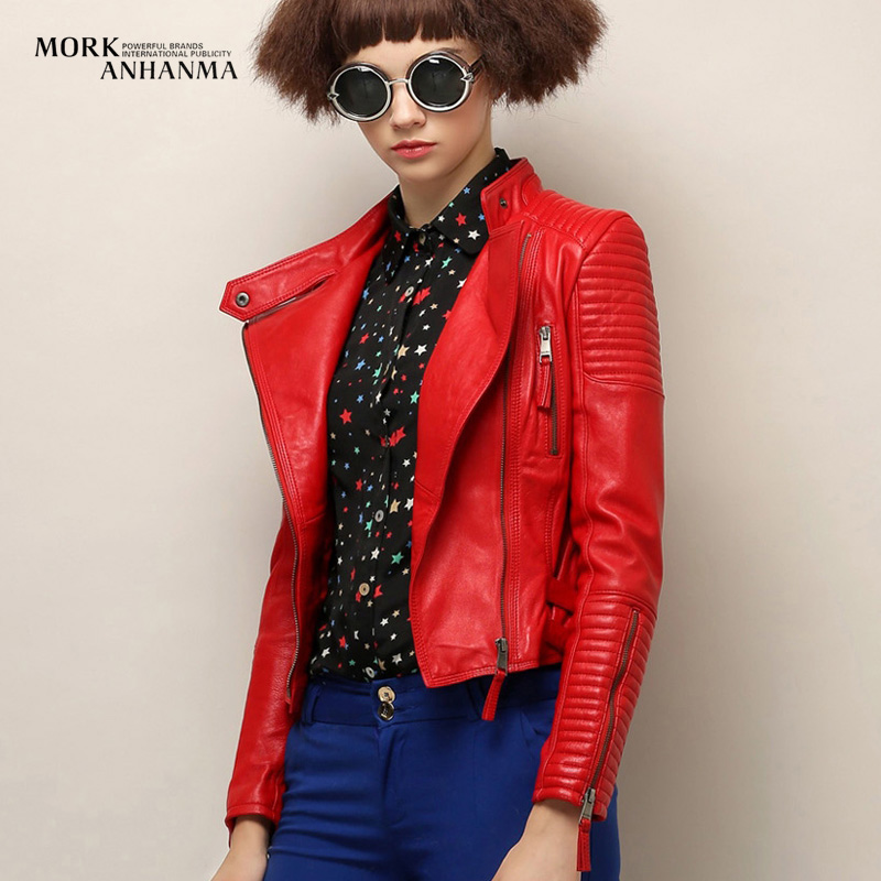 Aliexpress.com : Buy Red genuine leather jacket women slim fit ...