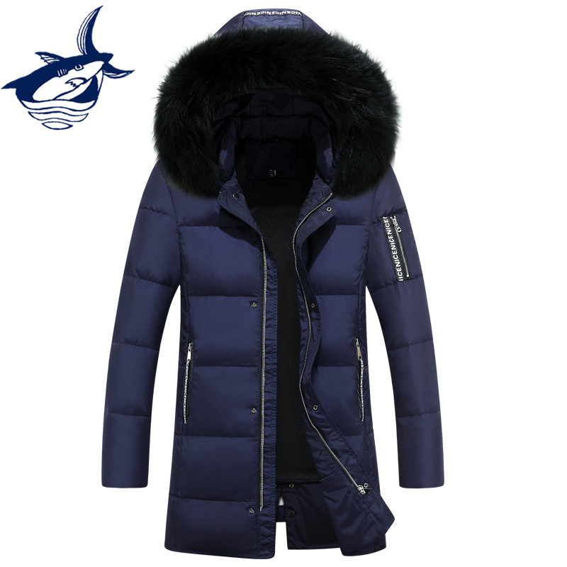 New Arrival Fur Collar Long Down Jacket Men Casual Windproof Brand Tace & Shark Winter Jackets Mens White Duck Down Snow Coat