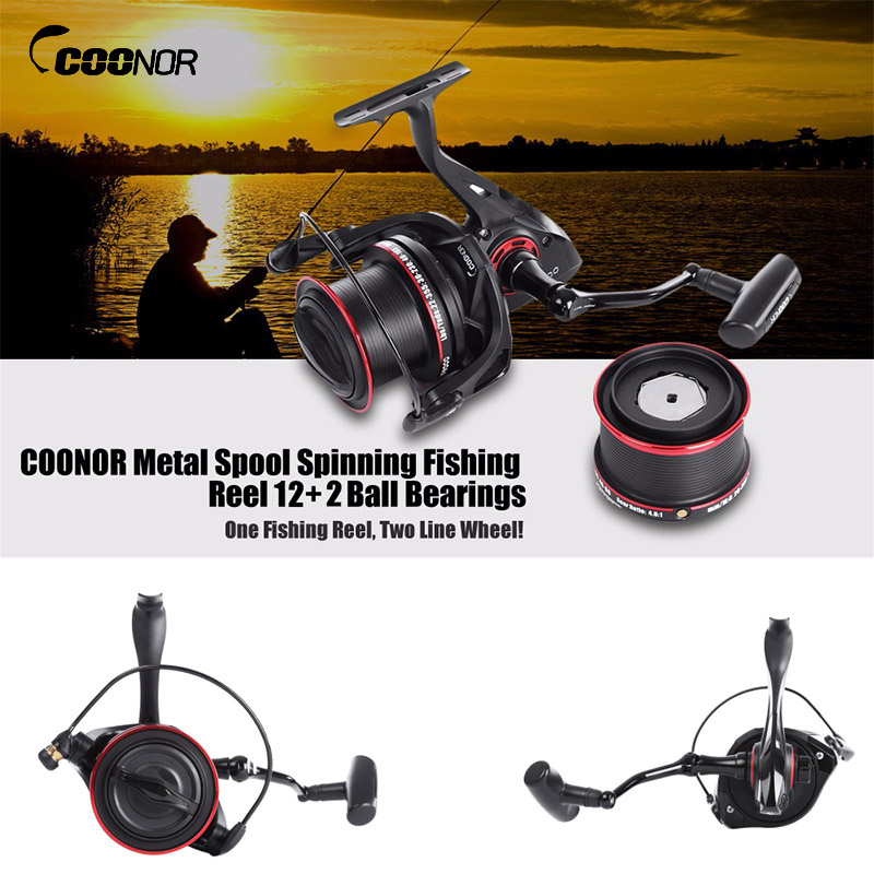 цены COONOR 12+2 Ball Fishing Reels Bearings Metal Fishing Wheels Spool Spinning Fishing Reel 4.6:1 with YF8000 + YF9000 Wheels