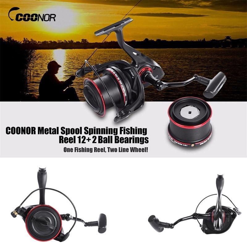 цены COONOR 12+2 Ball Fishing Reels Bearings Metal Fishing Wheels Spool Spinning Fishing Reel 4.6:1 with YF8000 + YF9000 Wheels