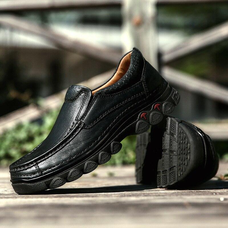 Mannen Vintage Slip Op Casual Schoenen Mannelijke Lederen Effen Kleur Leisure Schoenen Mannen Anti Gladde Oxfords Schoenen AA51712-in Casual schoenen voor Mannen van Schoenen op  Groep 3