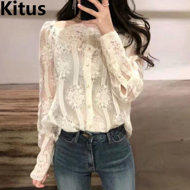 2808064e41403 Summer Lace top Women Cold shoulder long sleeve blouse shirt See through  Beach Wear Off the shoulder office shirt embroidery top