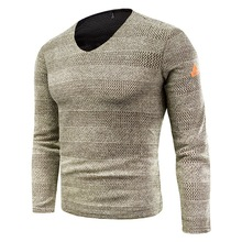 New Men's Fashion V-Neck Knit Sweater Male Long Sleeve Pullover Tops Slim Jumper Knitwear Autumn Winter Stripes Sweaters for Men