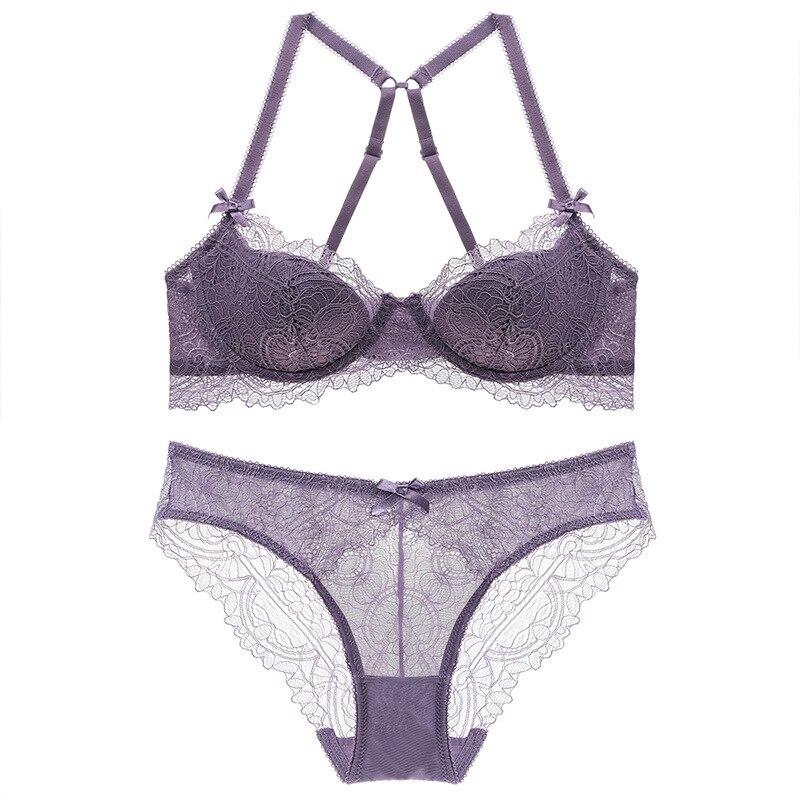 Cross Strap Ladies lace underwear  thin steel ring sanding cloth bra set women lingerie soutien gorge sexy seamless panties sets