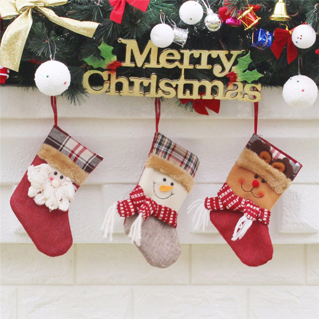 mjd merry christmas stocking sock gift candy hanging bag xmas embroidered christmas santa claus snowman home