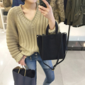 Fashion pullovers thick sweater women Autumn winter v neck sweater Elegant loose khaki knit sweaters jumper