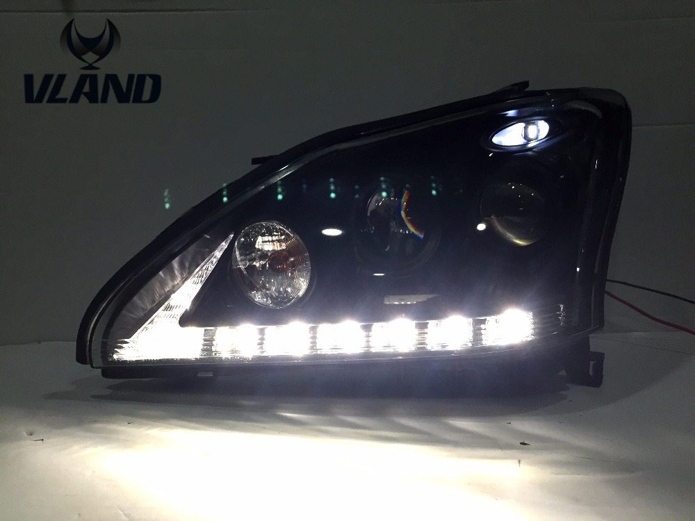 Free shipping for car LED Headlamp for Lexus RX300 RX330 RX350 LED Headlight year 2004-2009 Xenon BI projector lens