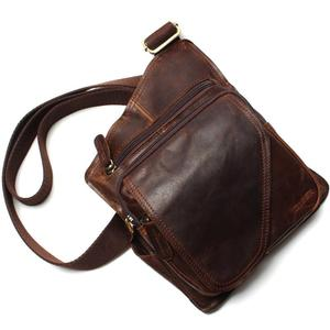 Image 3 - New High Quality Vintage Casual Crazy Horse Leather Genuine Cowhide Men Chest Bag Small Messenger Bags For Man  Shoulder Bags