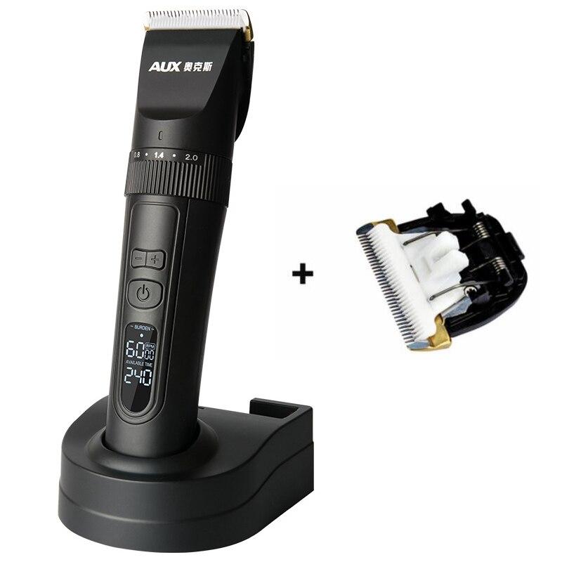 Profesjonalna elektryczna maszynka do strzyżenia włosów wyświetlacz LCD akumulator włosów trymer nóż ceramiczny tytanowy dla Salon maszyna do cięcia włosów w Trymery do włosów od AGD na  Grupa 2