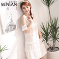 Fashion Korean Ladies Cotton Nightgown White Open Shoulder Short Sleeve Ruffled Jacquard Summer Sexy Night Dress for Women