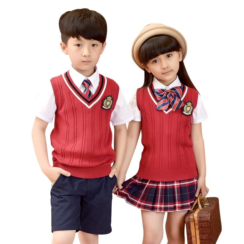 Children Cotton Japanese Student School Uniforms Set Suit Girls Boys Sweater Waistcoat Vest Short Shirt Skirt Shorts Tie Sets