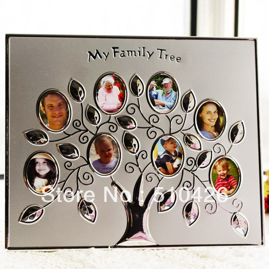 Wallverbs Family Tree Personalized Picture Frame Set: Personalized My Family Tree Frame Silver Photo/Pictures