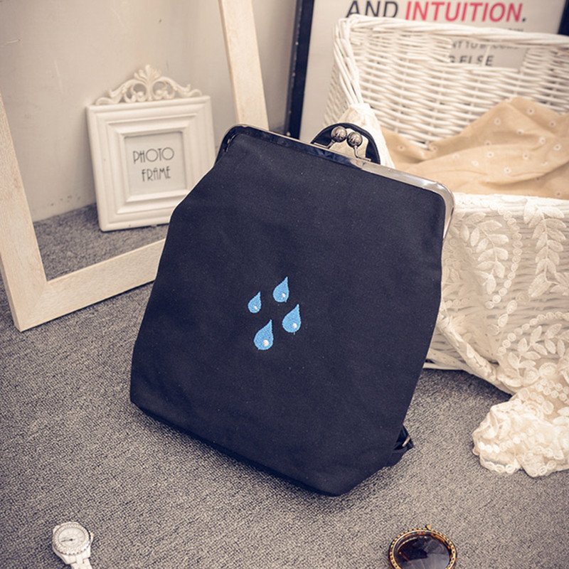2017 new Korean version bag trend canvas clip fashion leisure embroidery single backpack diagonal multi-purpose package