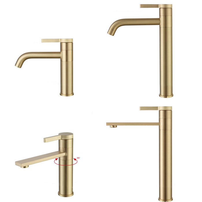 Bathroom Basin Faucet Sink Mixer Tap Solid Brass Tap Water Faucet Waterfall Brushed Gold Basin Mixer Faucet BG01-in Basin Faucets from Home Improvement    1