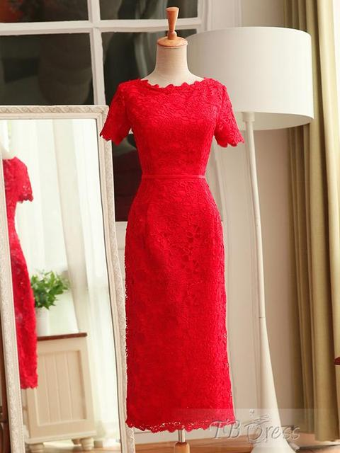 Elegant Scoop Hot Cocktail Dresses Beading Custom Made lace Homecoming Dresses With Short Sleeve Features Ruched Lace Up