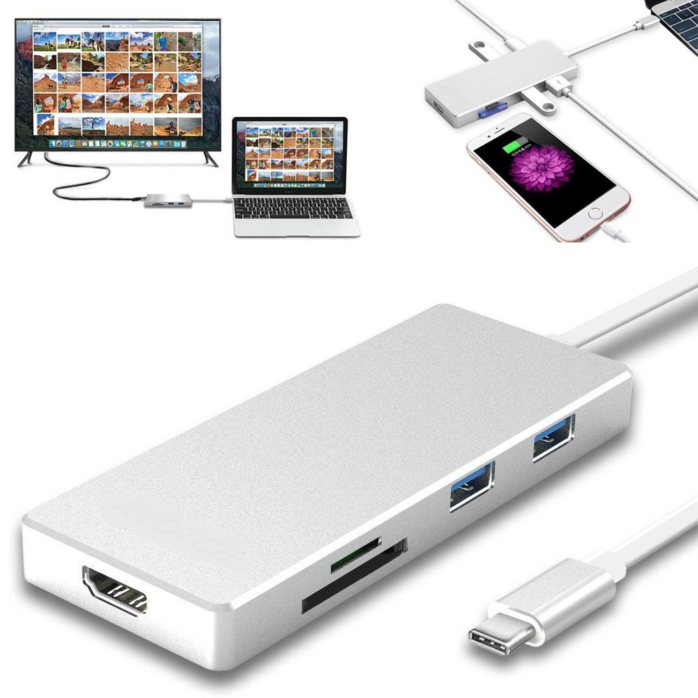 7in1 Digital AV Adapter HDMI 4K 3.1 Type C Hub with SD SDXC TF Card Reader 3 USB 3.0 Ports for Apple MacBook Pro 2015 ,2016