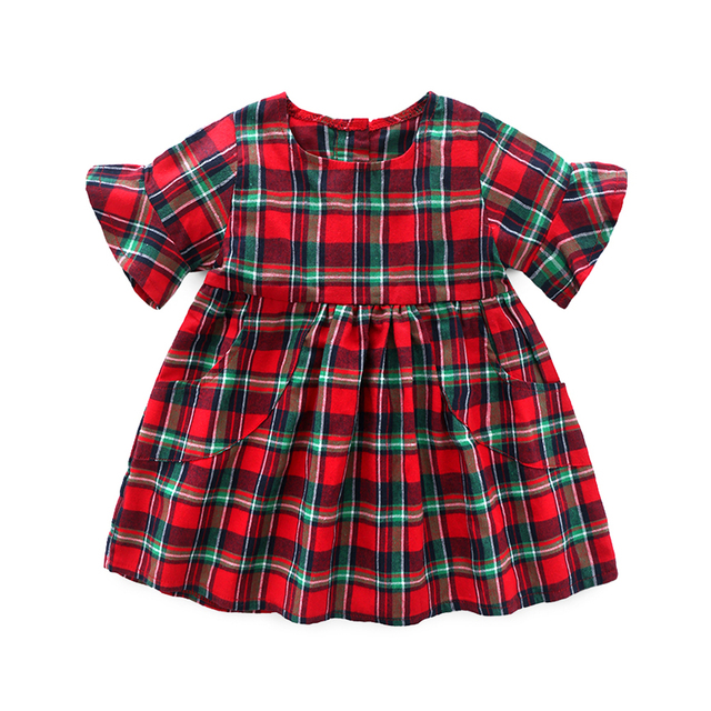 kids baby girl dress casual plaid christmas dress new summer newborn baby girls clothes children tutu